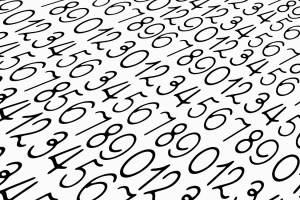 black numbers on a white background
