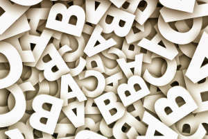 mixed white letters of the alphabet