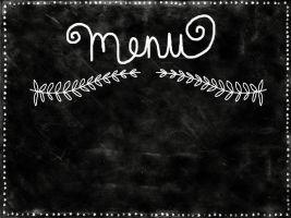 Het woord menu op een krijtbord