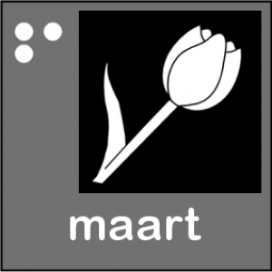Picto van maart met bloem