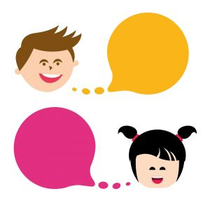Little boy and girl with speech bubbles