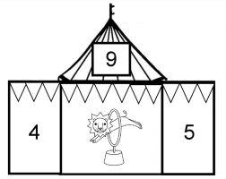 Circustent met splitsing van het getal 9