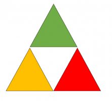 Three colored triangles (yellow, red, green)