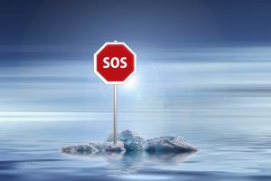 Plate with SOS on piece of ice
