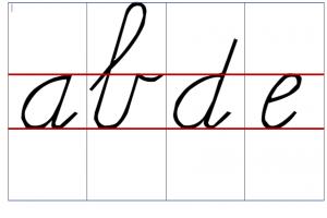 letters a b d e in koorschrift