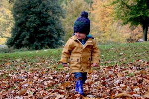 Walking child among autumn leaves
