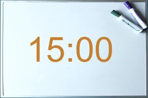 uur 15:00 op digitaal bord