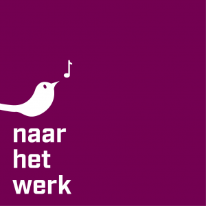 purple square with a whistling white bird with white text, to the work:
