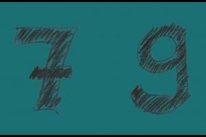 zwarte 7 en 9 op een blauwe achtergrond