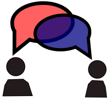 Drawing of two figures and speech bubbles that overlap
