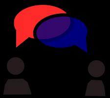 Tekening van twee figuren en tekstballonnen die overlappen