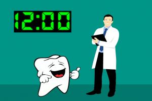 tandarts tand en digitale klok