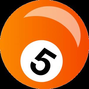 Cijfer 5 op een biljartbal