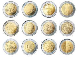 euro coins in a row