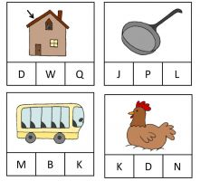 Four images with CVC words.