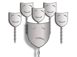 masks with smiling faces and one sad face