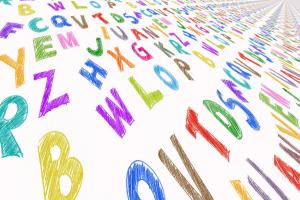 gekleurde letters door elkaar