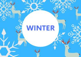 Winter word card on blue background with snowflakes