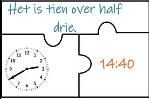 puzzel met analoge en digitale klok