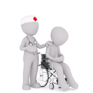 nurse and patient in a wheelchair