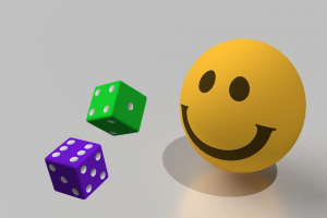 Smiley and two dice