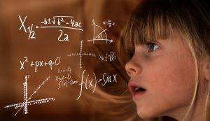 Girl on board with formulas