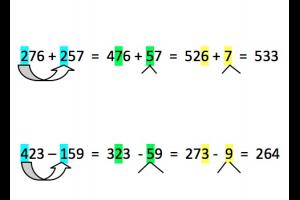twee oefeningen van het type HTE+HTE en HTE-HTE