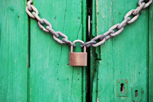 a green gate is closed with a padlock