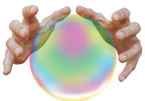 handen boven een glazen bol
