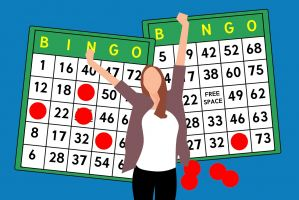 illustration woman and bingo cards