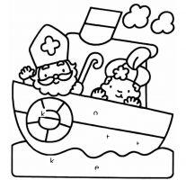 Tekening Sinterklaas en Piet op een boot