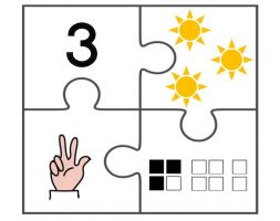 Puzzle piece with the number three