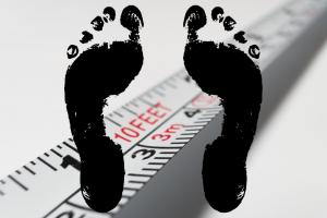 Lintmeter en voeten