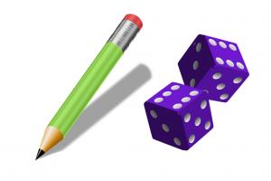 Twee dobbelstenen en een potlood