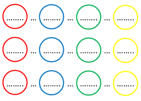 Intermediate steps in circle calculation with four colored circles