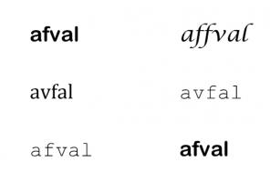woorden afval met verschillende lettertypes en verschillende schrijfwijzen