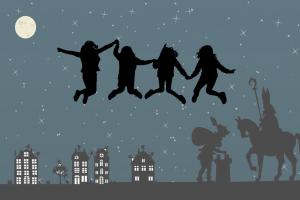 Sinterklaas op de dagen en springende kinderen