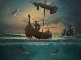 vikingschip op het water