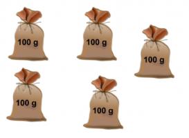 6 zakken van 100 gram