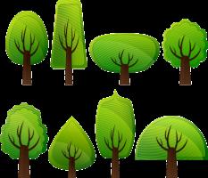 Tekening van verschillende bomen