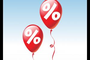 twee rode ballonnen met een procentteken op