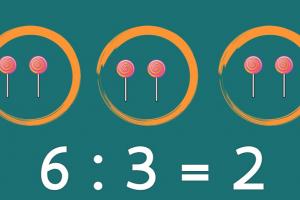 verdeling van 6 snoepen verdeeld in 3 cirkels
