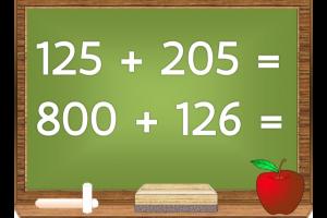 schoolbord waarop optellingen tot 1000 staan