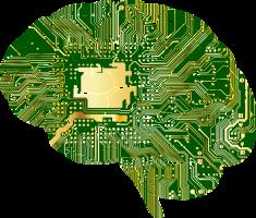 hersenen met computerchips ingeplant
