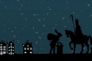 piet en sint lopen 's nachts op de daken