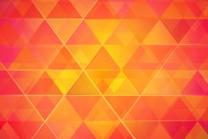 oranje, gele en rode driehoeken naast elkaar