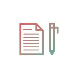icoon met een blad en pen