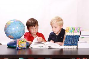 Twee jongetjes tussen schoolmateriaal.