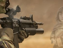 soldaat die een meisje onder schot houdt