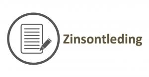 logo van een blad en pen mat daarnaast het woord zinsontleding